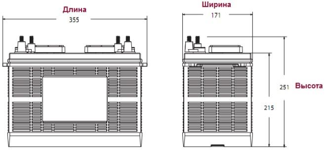 Размеры батареи Trojan SCS225 (терминал DWNT), мм